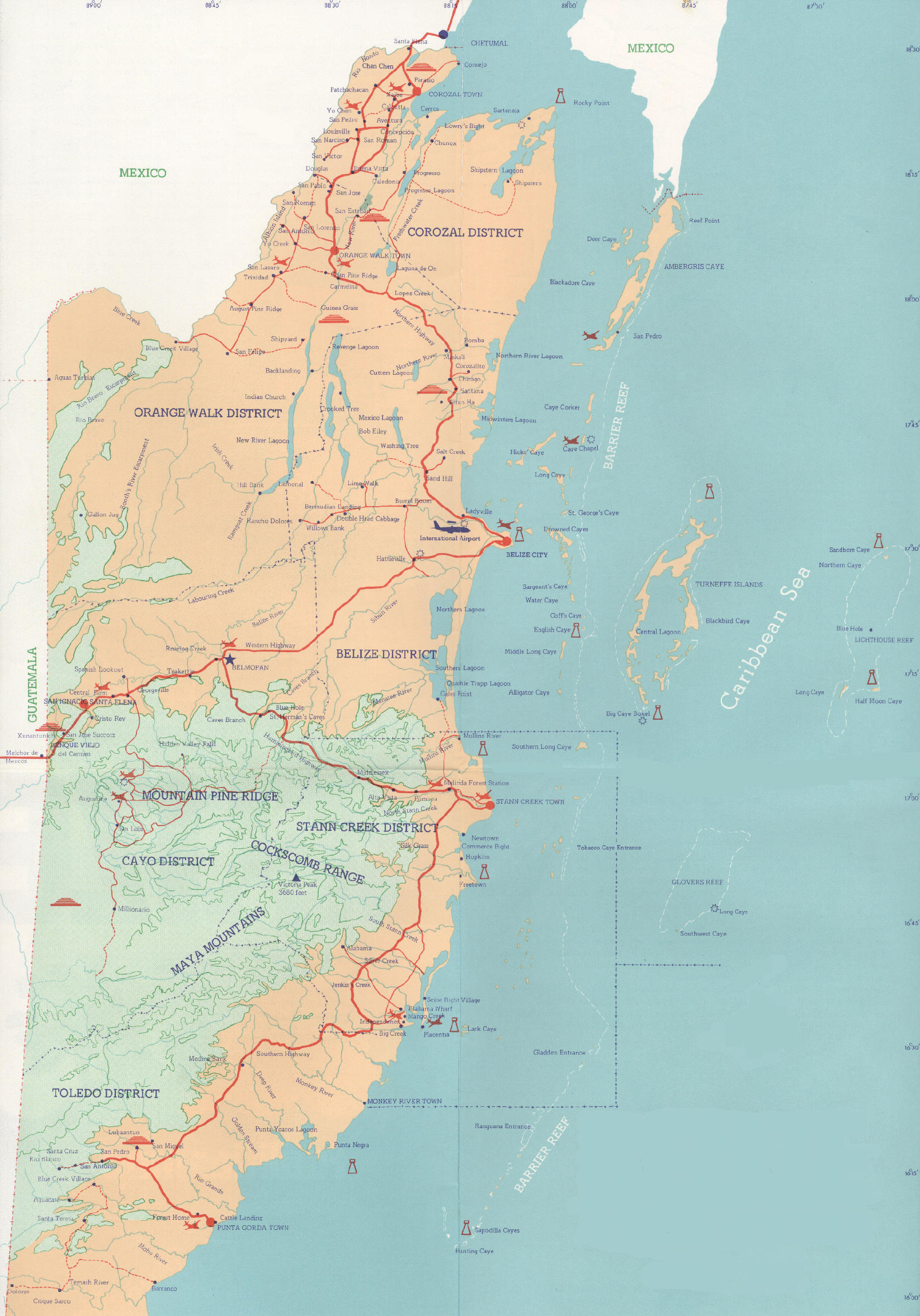 Belize Real Estate At Waterside Location Belize Map